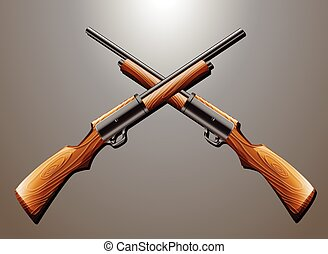Rifle - Pair of rifle guns hanging on the wall