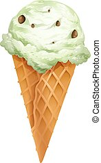 Ice cream cone with chocolate chip topping