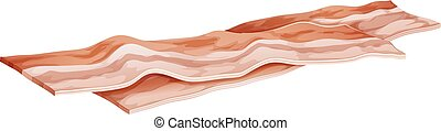 Bacon - Two slices of bacon on a white background