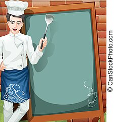 Cafe Menu - Blank m enu board of a cafe with a chef picture
