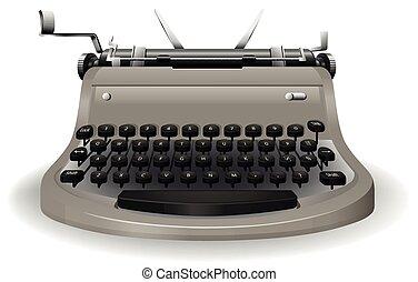 Typewriter - Black and grey typewriter on a white background