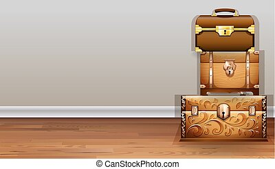 Luggage and wooden chest inside the room