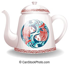 Kettle - White kettle with a chinese design on it