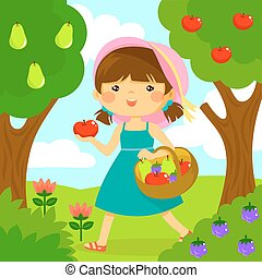 girl picking fruit