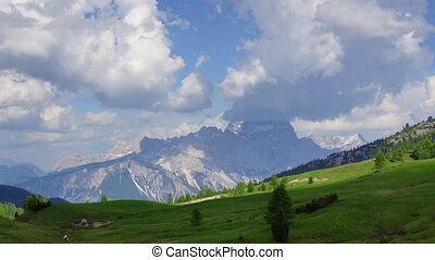 Dolomites 1 - Panormaic time-lapse of Dolomites mountains,...