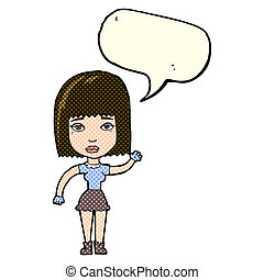cartoon waving woman with speech bubble