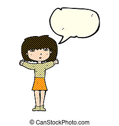 cartoon woman raising arms in air with speech bubble