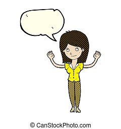 cartoon woman holding up hands with speech bubble