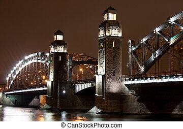 Bolsheokhtinsky bridge. St. Petersburg. Russia. Autumn night