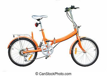 orange folding bicycles on white background, bike