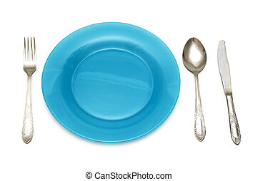 Blue plate and table utensils isolated on white