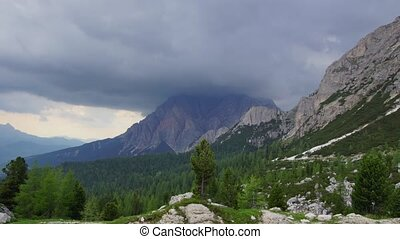 Rainy day in Dolomites - Panormaic time-lapse of Dolomites...