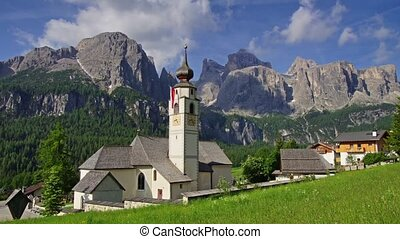 Colfosco village in Dolomites - Panormaic time-lapse of...
