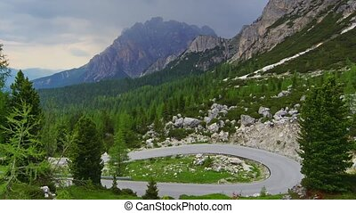 Dolomites 7 - Panormaic time-lapse of Dolomites mountains,...
