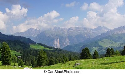 Dolomites 6 - Panormaic time-lapse of Dolomites mountains,...