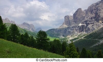 Dolomites 5 - Panormaic time-lapse of Dolomites mountains,...