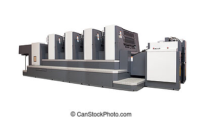 four-section offset printed machine over white -...