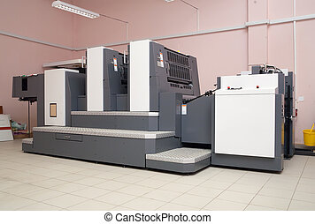 two-section offset printed machine at printing house