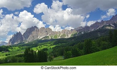 Dolomites 3 - Panormaic time-lapse of Dolomites mountains,...