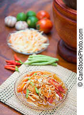 """Som Tum"" spicy papaya salad Thai food, cuisine"