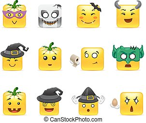 Smilies Halloween - Set of funny and very scary emoticons...