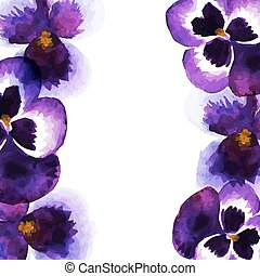 Vintage frame with watercolor pansies. Floral background