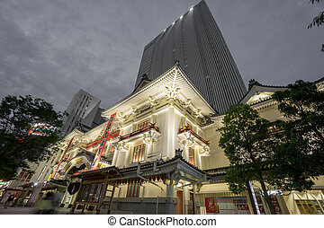 Kabukiza theatre in Ginza with skyscrapper at night. Tokyo -...