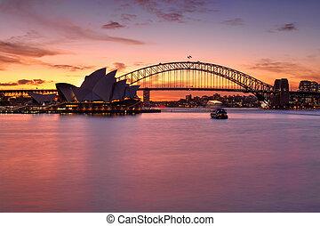 spettacolare, tramonto, sopra, Sydney, porto,