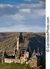 The castle in Cochem, Germany - The Reichsburg castle in...