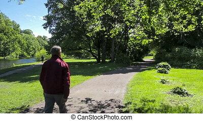 Man walks through the park on a sunny day