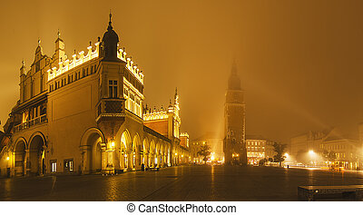 Market square in Kracow at night - Shopping malls Sukiennice...