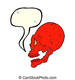 red skull illustration with speech bubble