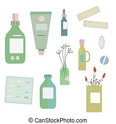Medical drugs and bottles - illustration for herbal medicine...
