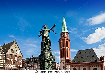 Statue of Lady Justice in Frankfurts central square