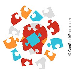 Puzzle heads symbolizing Psychology - Disassembled Puzzle...
