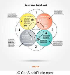Diagram infographic for business project, workflow and other Your variant. Vector illustration template with text areas 30