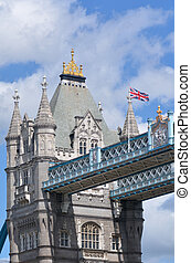Tower Bridge in London - England UK - The flag of England...