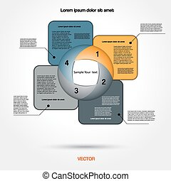Diagram infographic for business project, workflow and other Your variant. Vector illustration template with text areas