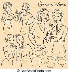 Hand drawn gossiping girls, chatting women, sketch