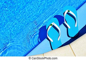Cambia de dirección, en, el, natación, piscina,