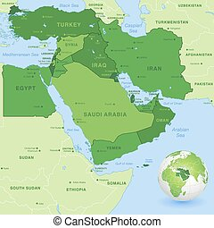 Vector Middle East Green Map - High detail map of the Middle...