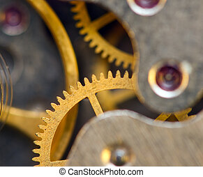 Background with metal cogwheels a clockwork. Conceptual...