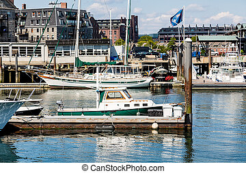 Boats in Boston Harbor - Many colorful boats in harbor in...