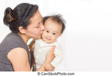 Asian Mom and baby - Asian mom holding baby in white...