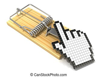 Hand cursor symbol in wooden mousetrap. 3D rendering...