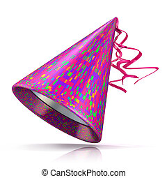 Party hat, rectangular pattern - Party hat. 3D illustration...