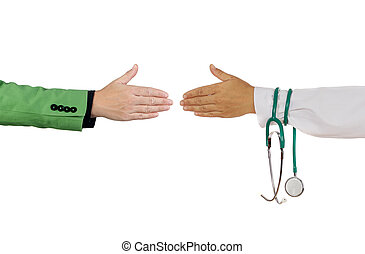 Handshake to close a deal between medical and business...
