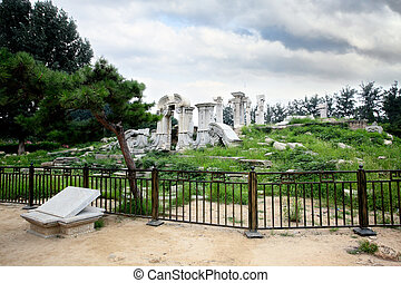 The ruins of Yuanmingyuan palace in,Beijing China