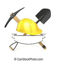 herramientas, minería, blanco, cinta
