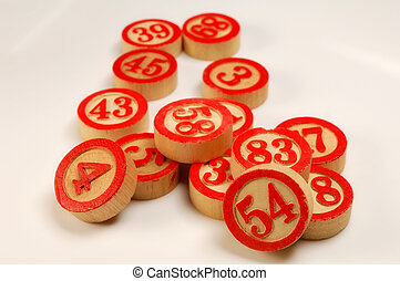 Wooden numbers, random choice Lucky concept